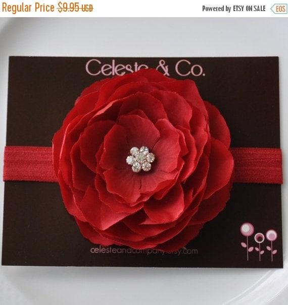 Red Headband - Infant Headband - Newborn Headband - Baby Headband - Red Flower on Red Stretch Headband - Photography Prop