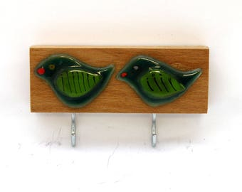 Birds wall hooks,coat rack,towel rack,bedroom decor,kitchen,bathroom,nursery,fused glass art, birds decor lovers gift