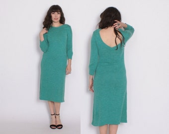 Vintage 80s Backless DRESS / 1980s Teal Sweater Knit Minimalist Dress S