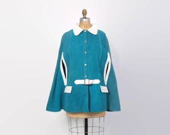 Vintage 60s Leather CAPE / 1960s 2-Tone Turquoise Suede & White Leather Belted Hippie Poncho