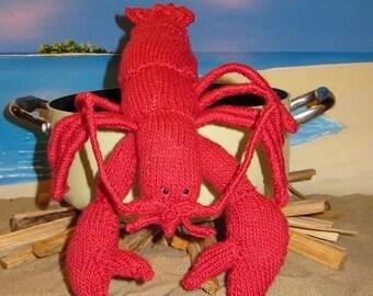 50% OFF SALE Instant Digital pdf download knitting pattern madmonkeyknits Lottie Lobster Crustacean Toy pdf knitting pattern