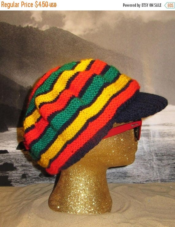 50% OFF SALE Digital pdf file knitting pattern - madmonkeyknits Trenchtown Peak Tam Rasta hat pdf knitting pattern