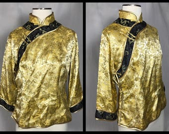 Chinese Traditional Top in Gold and Black Satin Jacquard by Squirrel - Size 40 Small/Medium
