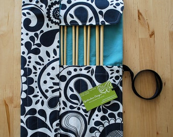 LAST ONE Knitting Needle Case / Organizer / Holder for Straight Needles - Charcoal and White Paisley Fabric