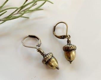 Petite Solid Brass Acorn Earrings