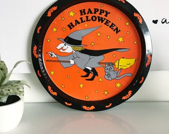 Vintage Tin Circle Happy Halloween Tray, Holiday Serving, Witch, Broom, Cat, Bats