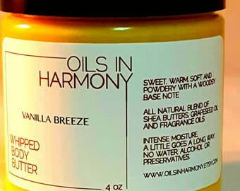 Shea Butter - Whipped Body Butter -VANILLA BREEZE (Intoxicating, Warm and Soft) - 4 oz Large Jar