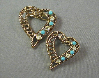 Vintage Gerrys Heart Brooches Pair