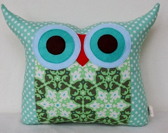 Use coupon code/Mint green owl pillow/Amy Butler fabric Polyfil Stuffed /decoration pillow,gift, Owl Pillow/Ready to ship