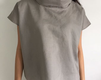 Oversized loose fitting linen blouse/Loose fit blouse /Oversize linen top /In Gray /Gift for her