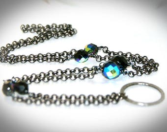 "Gunmetal and Black Crystal Beaded Eyeglass Necklace. ""Black Diamond"" Crystal Eyeglass Chain"