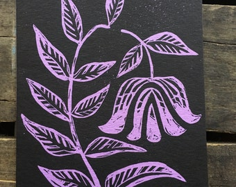 Bell Flower Linocut Print 5 x 7in.