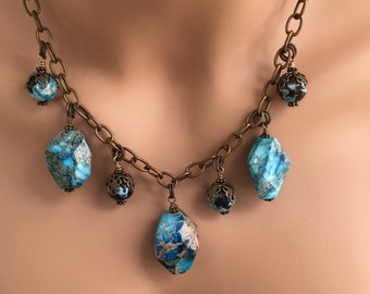 Chunky Blue Jasper and Blue Agate Necklace   Statement Piece