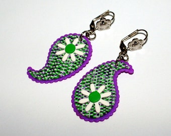 Feminine Paisly Earrings - Litht Weight Green Purple Polymer clay earrings