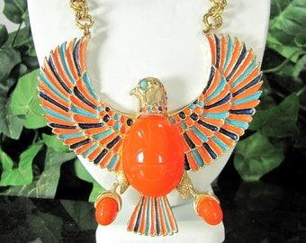Vtg HATTIE CARNEGIE EGYPTIAN Revival Necklace Enamel Horus Bird Scarab Huge