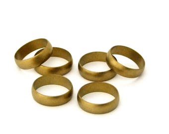 """Raw Domed Solid Brass Ring Blanks 3/16""""  Wide Size 11  Pkg Of 6"""
