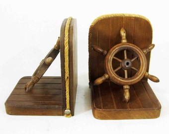 Vintage Wooden Ship Wheel Bookends. Circa 1950's - 1960's.