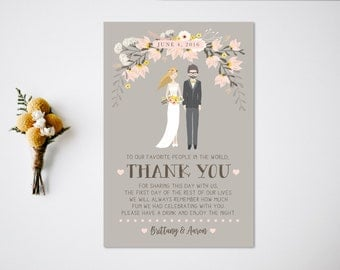 Thank You Reception Card  Reception Decor  Thank You Card  Wedding Portrait  Bride and Groom  Reception Thank You Card