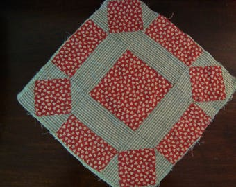 Antique Early 1900 Handstitched Rolling Stone Quilt Block~ for Fabric Art and Prim Crafts