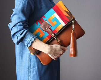 Native American Leather fold over clutch, fold over bag, fold over purse, wool fabric and leather clutch with leather tassel