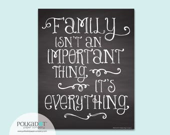 Family is Everything Chalkboard Style Framable Print - Family Quote