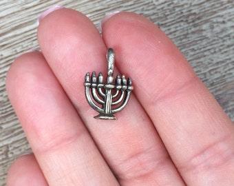 Vintage Menorah Charm Silver Pendant
