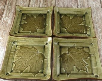 Handmade Pottery Plate Set -  Ceramic Plates - Appetizer Plates - Tapas Plates - Leaf Plates - Maple Leaves - Green Plates - Set of 4 - 226