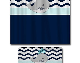 Personalized Chevron Whale Theme Shower Curtain and Bath Mat Set - Navy with Grey, mist blue and Turquoise Accent Option - Can change colors