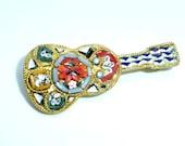 Vintage Micro Mosaic Guitar Pin Italy Music