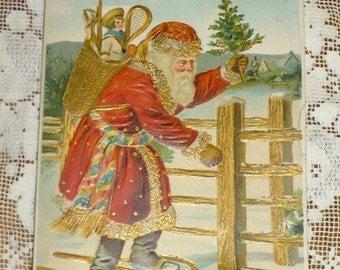 Antique Christmas Germany Post Card Postcard A Merry Christmas Santa Snowshoes Doll Tennis Racket Christmas Tree
