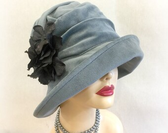 Winter Cloche Hat - Blue Velour Cloche - Ready to Ship - Hat Size Small - Formal Cloche - Alice Cloche Hat - Downton Cloche - Handmade USA