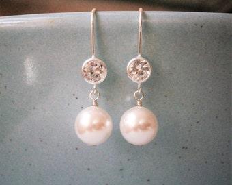 Pearl Earrings, Silver CZ Earrings, Wedding Jewelry, Bridal Jewelry, Bridesmaid Earrings, Wife Gift, Sister Gift