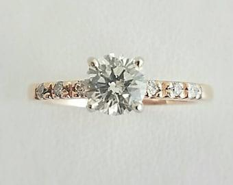 Handmade .89 ct. Diamond Engagement  ring in 14K Rose Gold