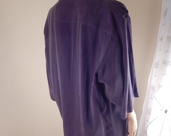 mens tencil shirt, aubergine, made in italy
