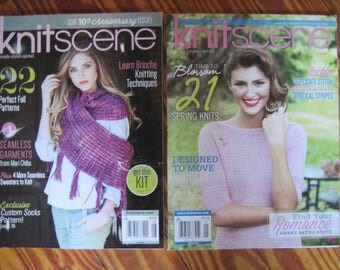 2 Knit Scene Magazines Fall 2015 and Spring 2016 Knitting Patterns Free US Shipping!