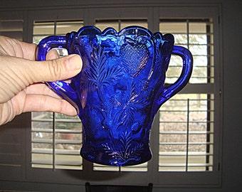 Cobalt Blue Vintage Glass Spooner Inverted Strawberry Pattern by Mosser