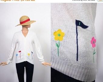 SALE Vintage Novelty Print Sweater / 70s Knit Cardi / 1970s Cardigan / Embroidered Applique Top / Golf / Kitsch / Medium