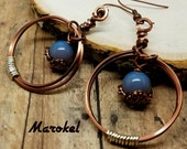 Wrapped Circle Earrings Ombre Blue Pottery Bead Square Copper Wire Silver wire Mixed Metals