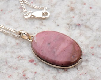 Peruvian Pink Opal Oval Pendant Necklace with Sterling Silver Setting and .999 Silver Plated Curb Chain with Lobster Claw Clasp