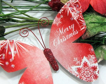 Butterfly Embellishments Merry Christmas In Either Red or Green
