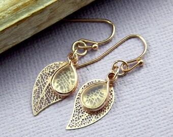 Leaf Earrings, Moonstone Earrings, Rose Gold Earrings, Moonstone Jewelry, Gemstone Jewelry, June Birthstone