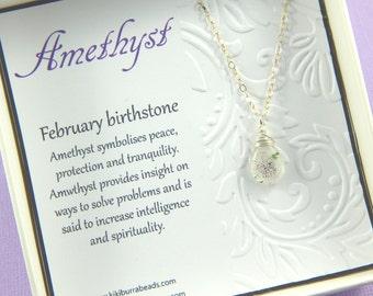 Amethyst Necklace, February Birthstone, White Amethyst Necklace, Moss Amethyst, Super 7 Gemstone