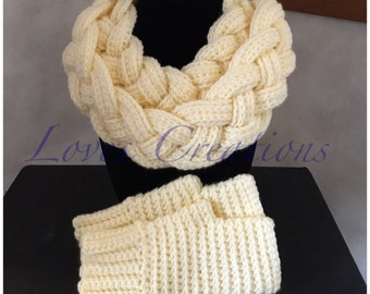 Crochet Cowl and Fingerless Gloves Set