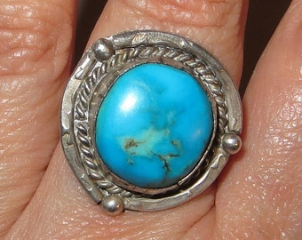 Native American Blue Turquoise Ring Sterling Silver Size 7 1/2