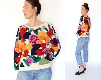 vintage 90s multicolor FLORAL oversize PREPPY sweater S-M