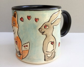 Animal Mug, Fox and Rabbit in Love Mug, Blue and Orange Coffee Mug or Tea Mug with Red Hearts, Animal Pottery
