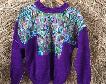Vintage Guatemalan Sweater - Purple with Inset Embroidery - Aztec Bird Chevron Flowers - Heavy Cotton - Colorful Ethnic - Up to 46 Bust