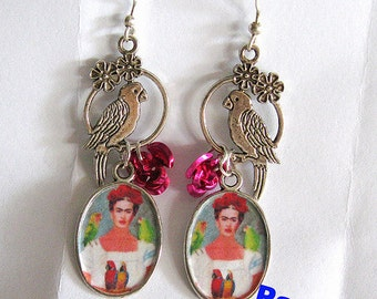 Frida Kahlo earrings my parrots and me unique new design dia de los muertos Mexico folk altered art aretes mexican