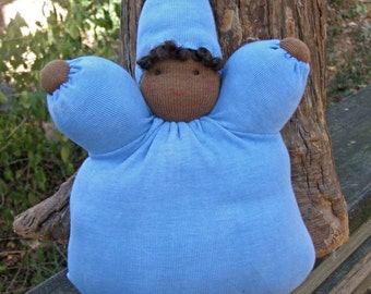 Mama Jude's Indigo Bunting Baby--Waldorf Style Bunting Doll made from Plant Dyed Stuff