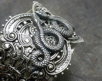Silver Snake Bracelet Statement Cuff Slytherin Serpents